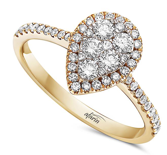 diamond engagement ring, pear shaped, teardrop, yellow gold, halo