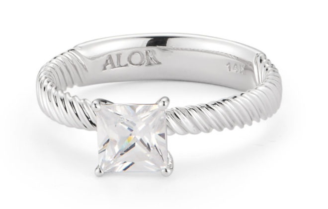 diamond engagement ring, princess cut, white gold, cable band