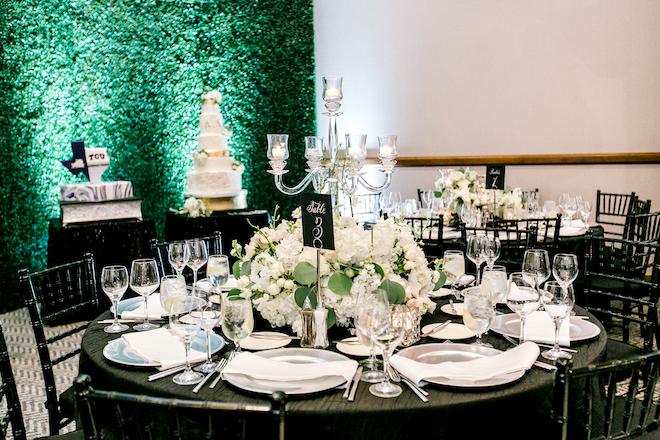modern wedding, reception decor, hotel wedding venue, houston, hotel zaza, memorial city, black, white, metallics, plants n petals