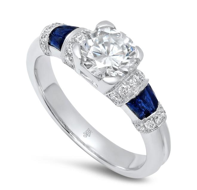 diamond engagement ring, vintage, white gold, blue sapphire
