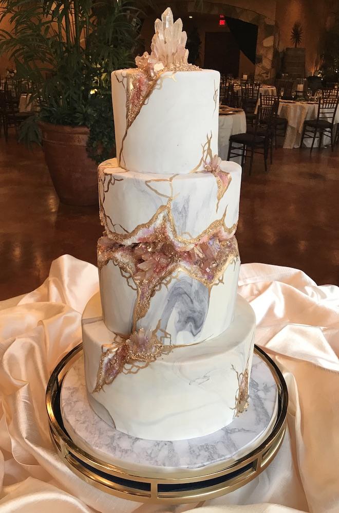 crystals, marble, geode, wedding cake, unique, custom design, cake design, common bond cakes