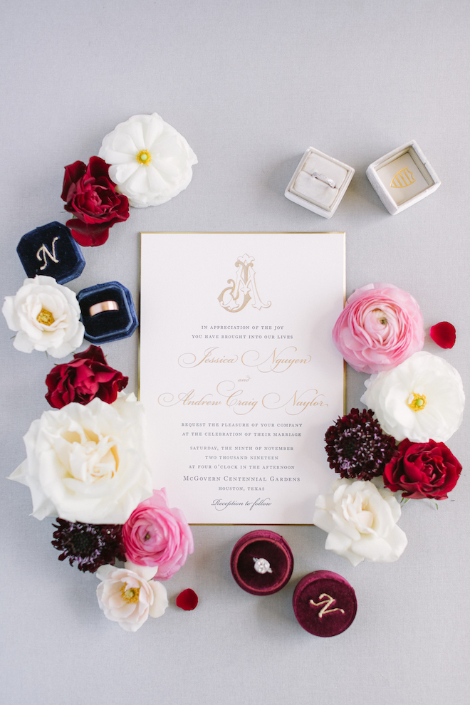 flatlay, wedding invitations, wedding stationery, bering's, burgundy, navy, ivory