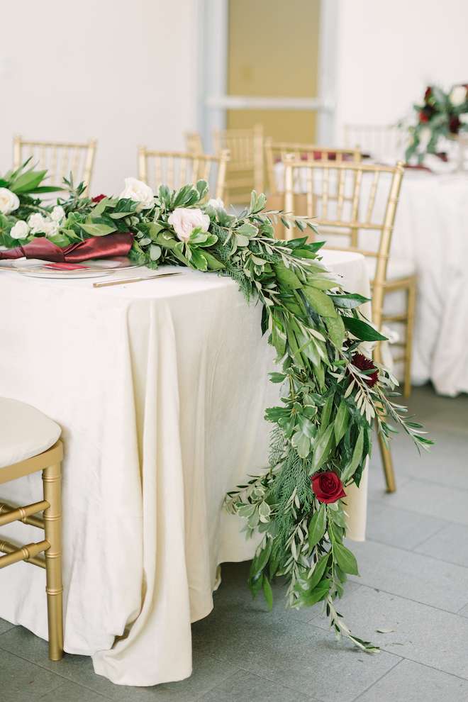 greenery garland, reception decor, eb inc, linens, table setting, kate elizabeth photography