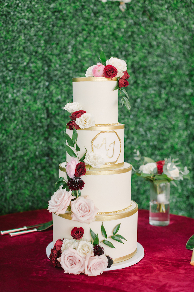 wedding cake, white, gold, flowers, classic, greenery wall