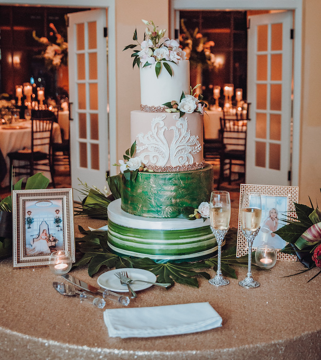luxury wedding cake, tropical theme, green, blush, white