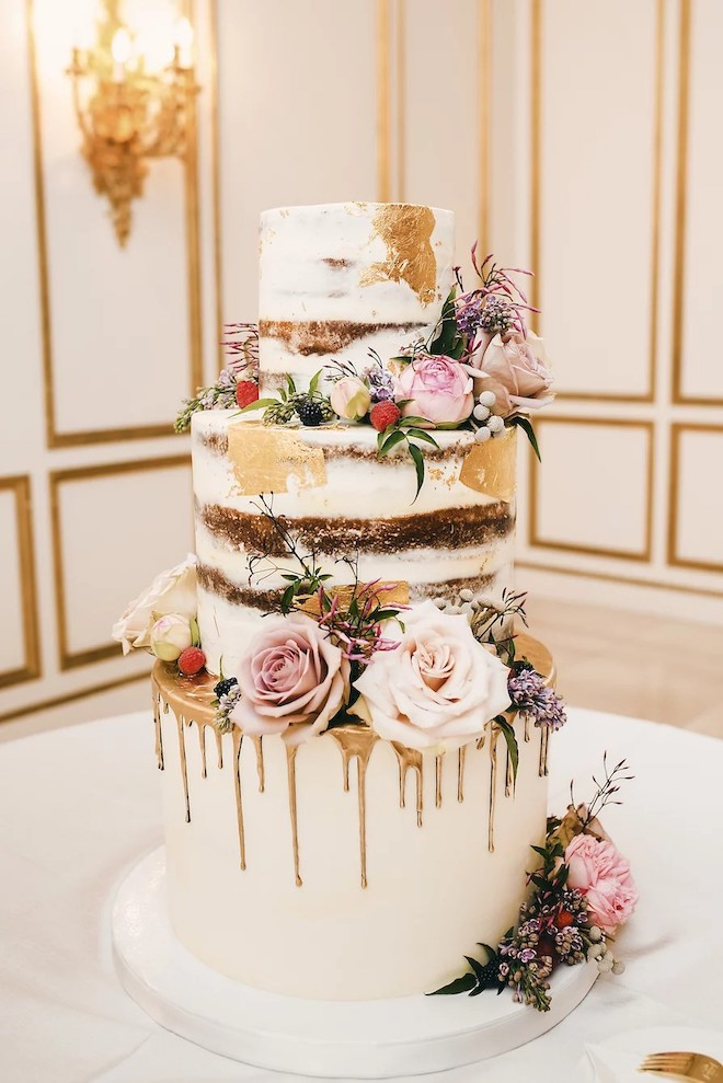naked cake, floral, gold, white, chic, boho, rustic, modern, common bond cakes