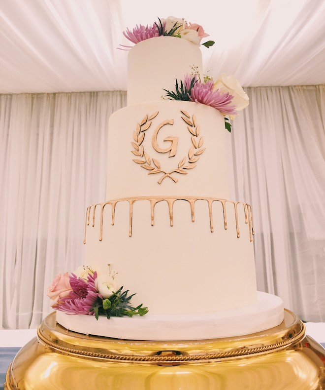 luxury wedding cake, floral accent, white, gold, cake design, common bond cakes