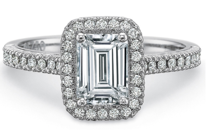 emerald cut, diamond, engagement ring, halo, plalatinum