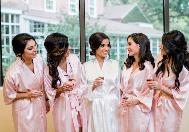 bride, bridesmaids, wedding robes, silk, getting ready, bride tribe