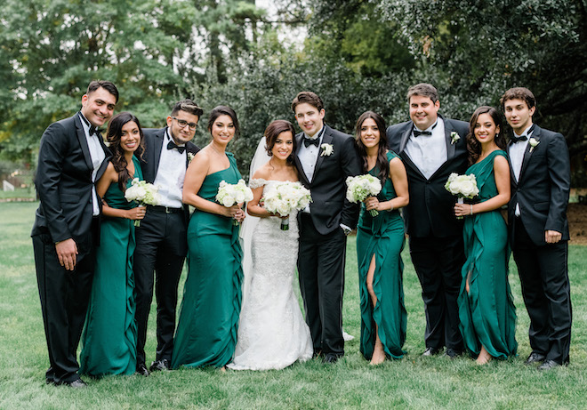 wedding party, bouquets, white, elegant, green, bridesmaids dresses, outdoor wedding photography