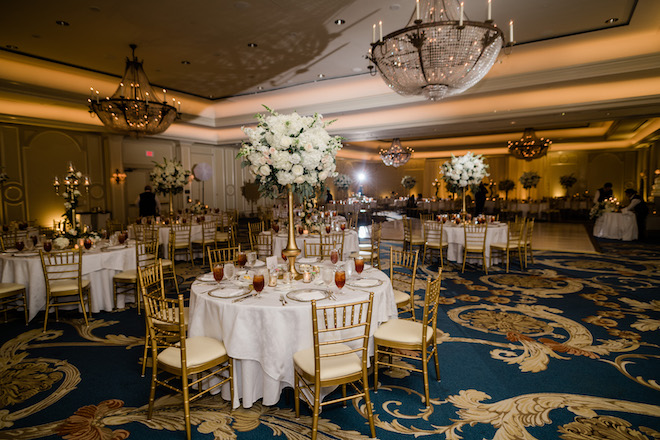 reception decor, floral centerpieces, dramatic, lush, white, gold, chandeliers, venue, houstonian hotel