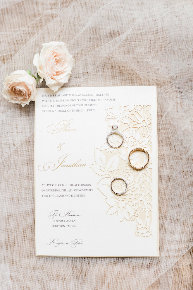 flat lay, white, gold, invitations, stationery, roses