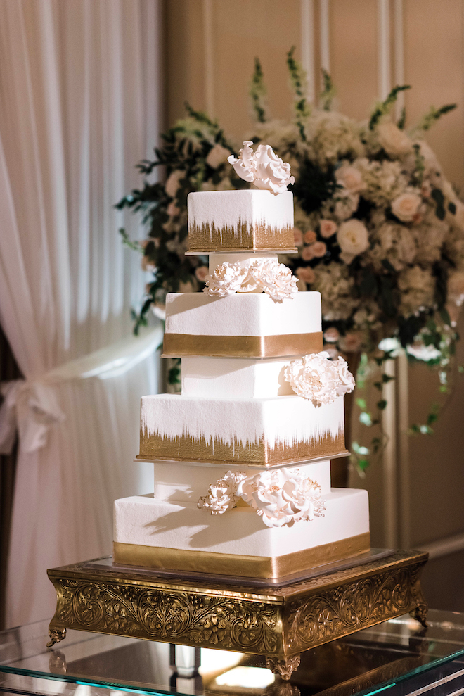 wedding cake, white, gold, four tier, square, susie's cakes, floral accents