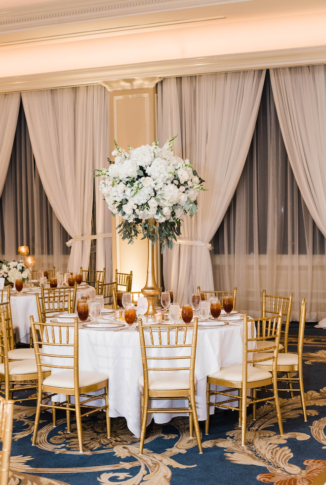 reception decor, floral centerpieces, dramatic, lush, white, gold