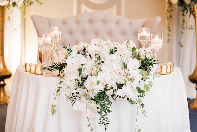 his her table, reception decor, candles, white, gold, orchids