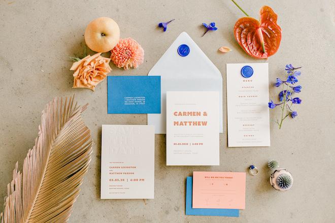 flatlay, wedding, invitations, stationery, orange, blue, pink, colorful, wedding photography, amy maddox photography