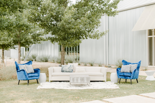 outdoor, lounge furniture, cocktail area, lounge seating, wedding, blue, gray
