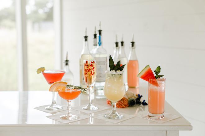 custom cocktails, wedding, beverage service, houston, pour me perfection, signature cocktails, drinks, colorful, unique