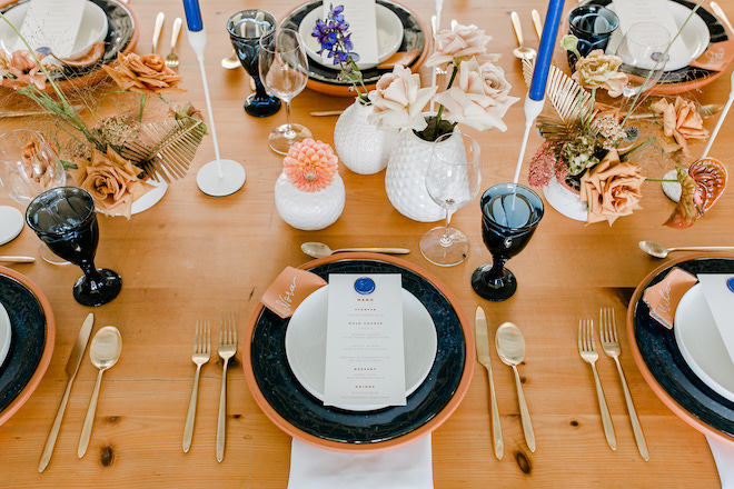 place setting, table setting, wedding, tablescape, terra cotta, styled shoot, your butler's pantry, houston, rentals, decor, gold flatware, vintage, goblets, blue