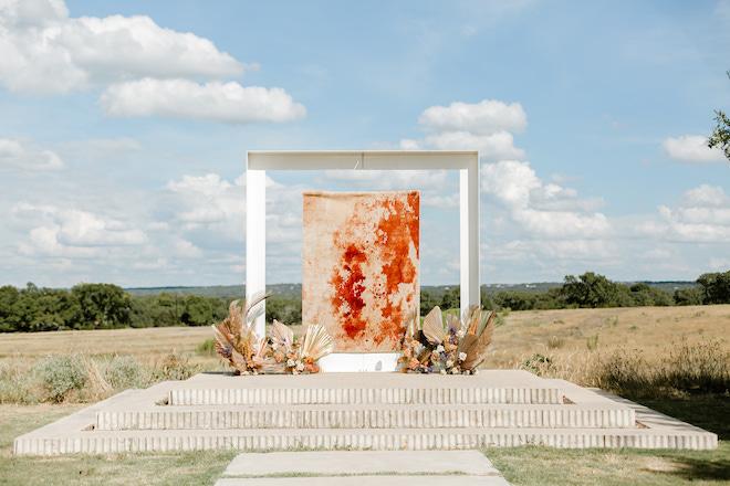 outdoor ceremony, bridal portrait, orange, texas, bride, wedding photography, brown, tan, flowers, foliage