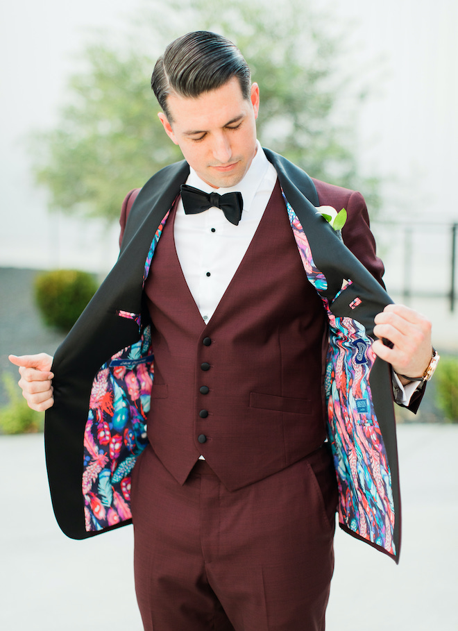 colorful, suit, burgundy, vest, unique, custom, bowtie, bold, groom, attire
