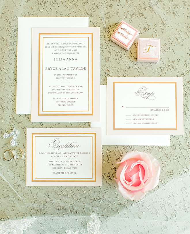 flatlay, wedding invitations, stationery, white, gold, rose, rose gold