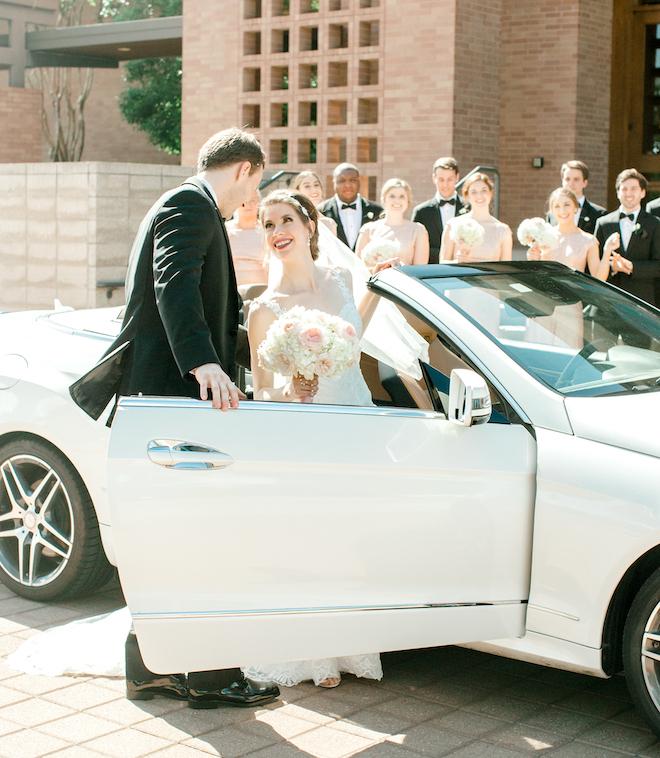 wedding transportation, bride, groom, post ceremony, convertible