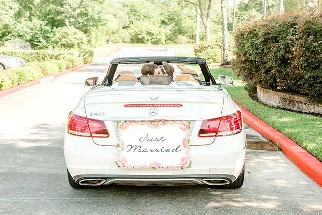wedding transportation, bride, groom, post ceremony, convertible, just married sign, car