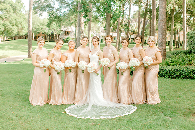 bridesmaids, bridesmaids dresses, bouquets, outdoor photography, northgate country club, rose gold