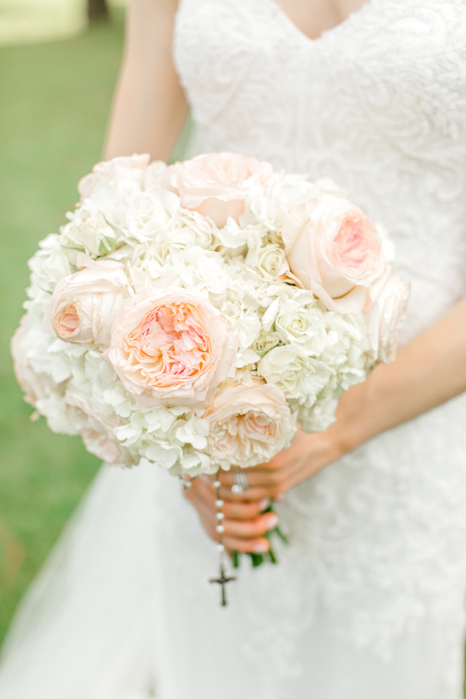 bridal bouquet, rosary, white, pink, rose