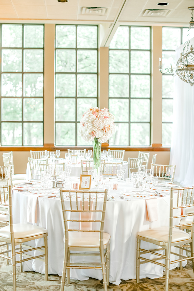 northgate country club, wedding venue, classic wedding, reception decor, white linens, EB inc, tall floral centerpieces
