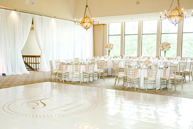 northgate country club, wedding venue, classic wedding, reception decor, white linens, EB inc, custom dance floor