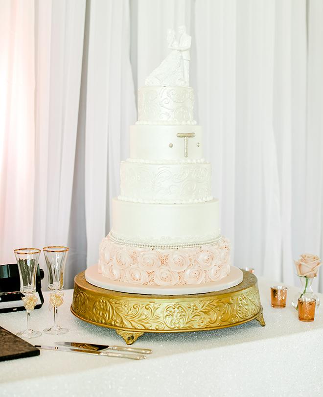 wedding cake, white, pink, roses, classic, bride groom cake topper
