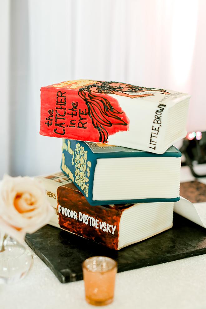 groom's cake, books, sculpted cake