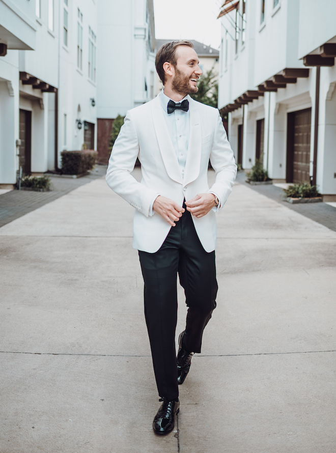 groomswear, groom, attire, bow tie, suit, white, jacket, black, dapper, stylish, trendy