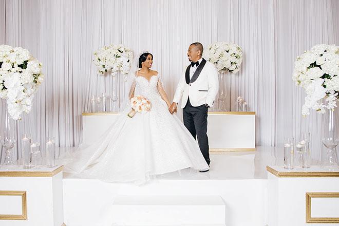 glamorous wedding, reception decor, wedding venue, bride, groom, nigerian, real wedding, gold, white, ivory