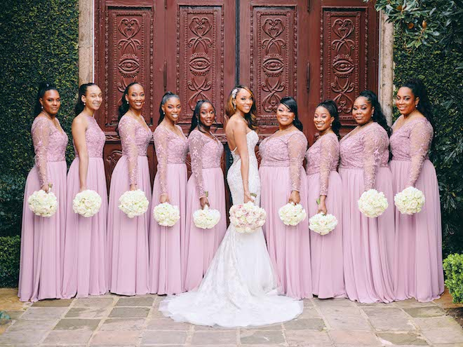 bridal party, bridesmaids, wedding photography, civic photos, pink bridesmaids dresses, bridal bouquet, the bell tower on 34th
