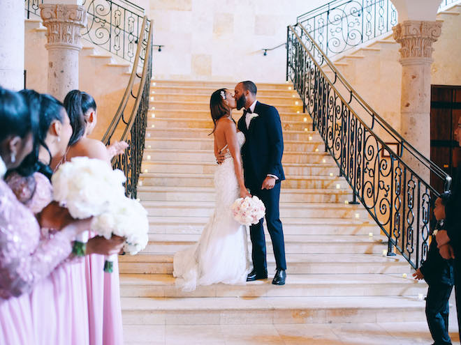 grand entrance, reception, staircase, luxury, bride, groom, civic photos, the bell tower on 34th