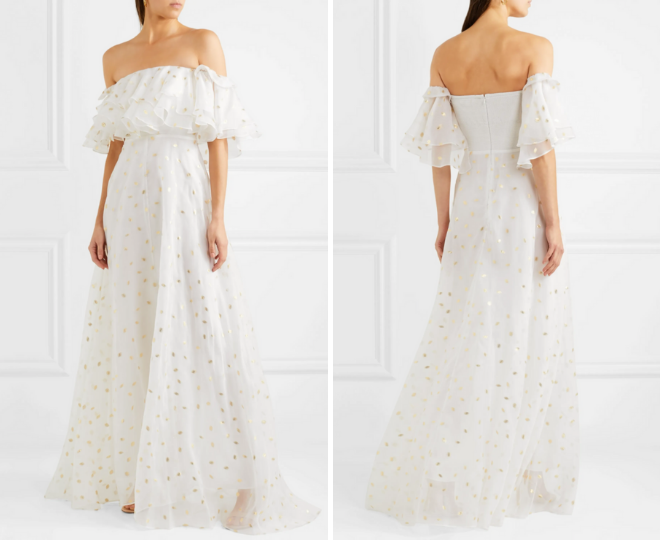 rehearsal dinner dresses, white, gold, long, off the shoulder, maxi