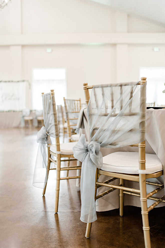 reception decor, chairs, chair covers, grey, estates at pecan park
