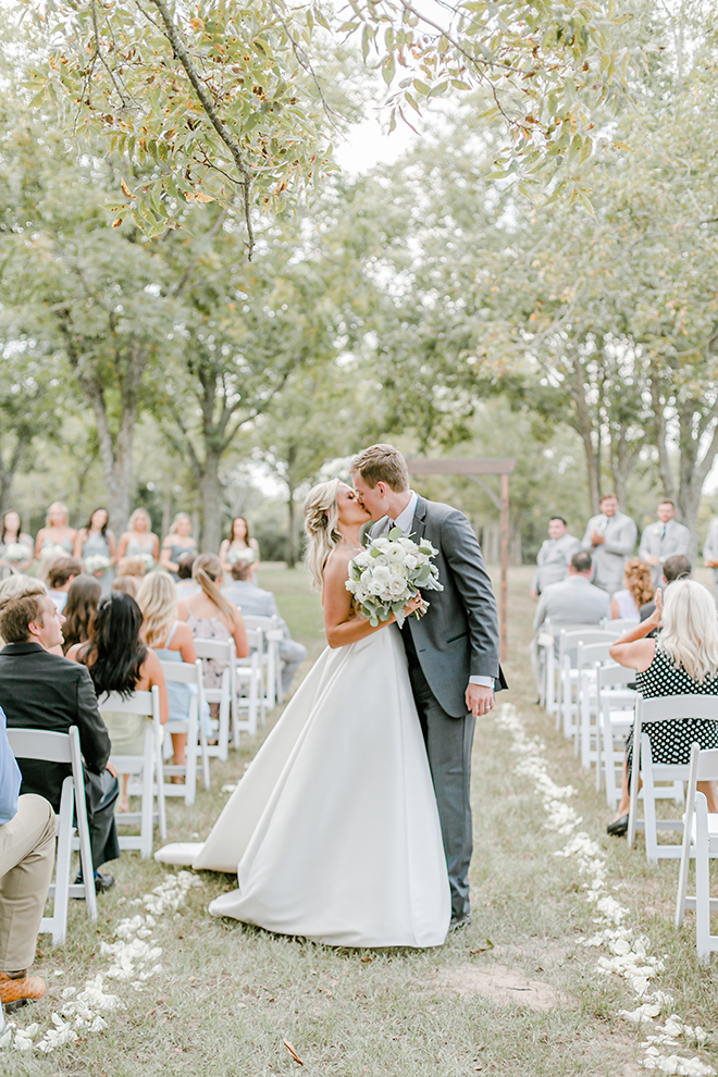 outdoor ceremony, bridal bouquet, bride, groom, estates at pecan park, white, grey, timeless, simple
