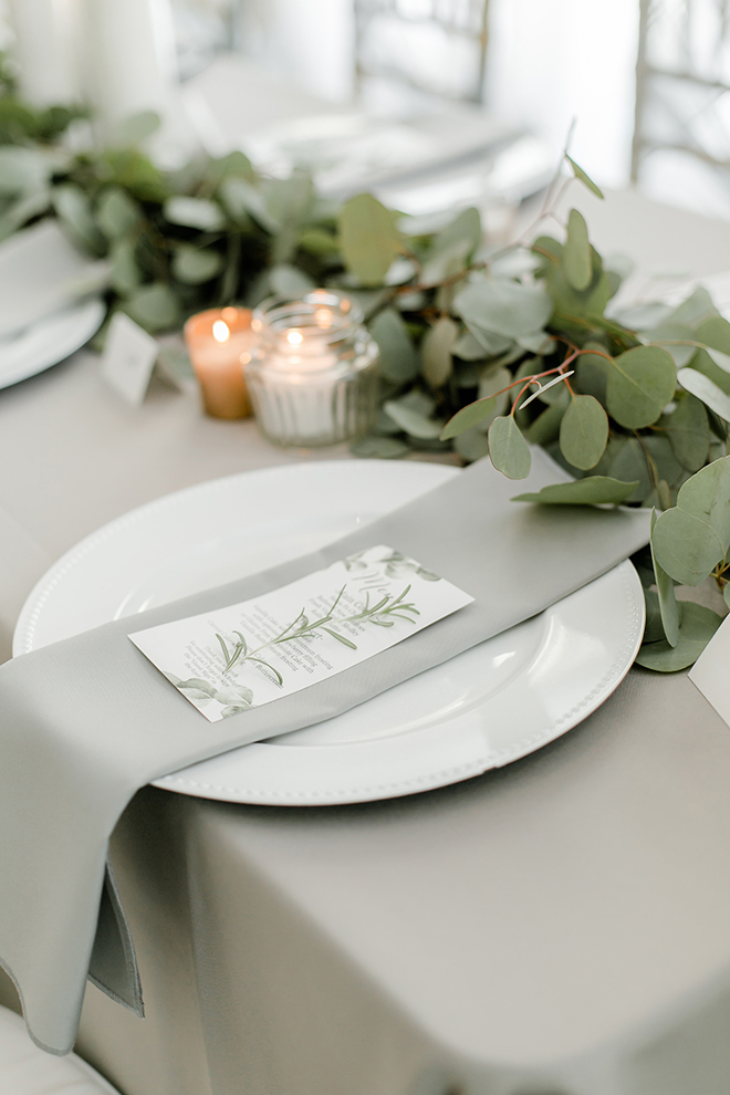 reception, place setting, table setting, grey, napkins, candles, simple, elegant, eucalyptus, stationery, menu