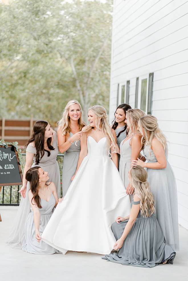 bridal party, bride tribe, grey, bridesmaids, dresses, estates at pecan park, amy maddox photography