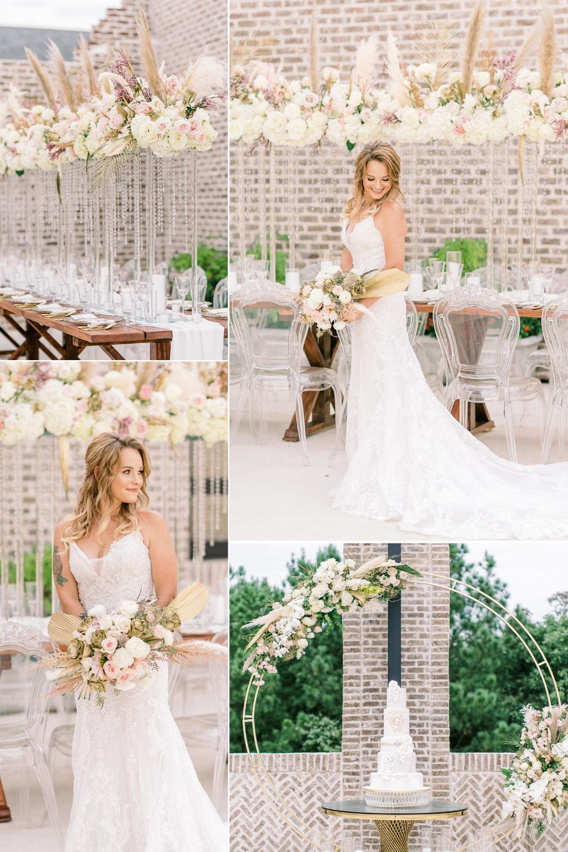 boho, wedding style, ivory, outdoor wedding decor, half updo, blush artistry, cakes by gina