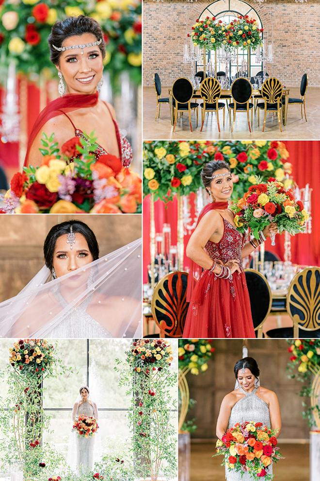 luxury, red flowers, indian wedding, ceremony decor, iron manor, montgomery, gold wedding