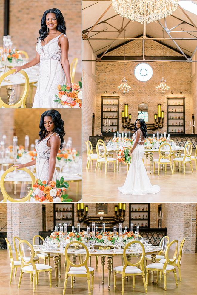 modern, chic, curls, hair, beauty, bridal, wedding theme, gold wedding