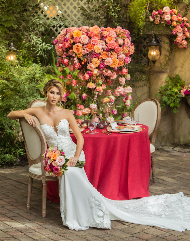 garden themed, styled shoot, wedding, vibrant, colorful, micro wedding, decor, reception, florals, flowers, venue, bridal, wedding gown, hair, makeup, red, orange, pink