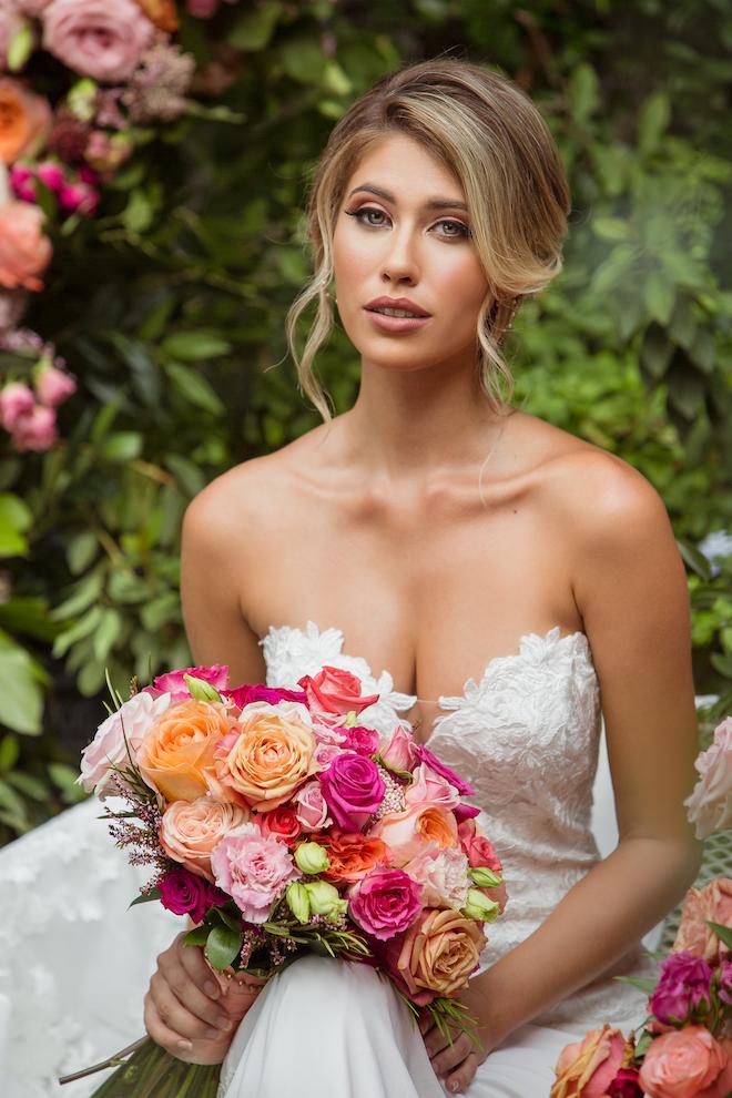 florals, flowers, bridal, wedding gown, hair, makeup, red, orange, pink