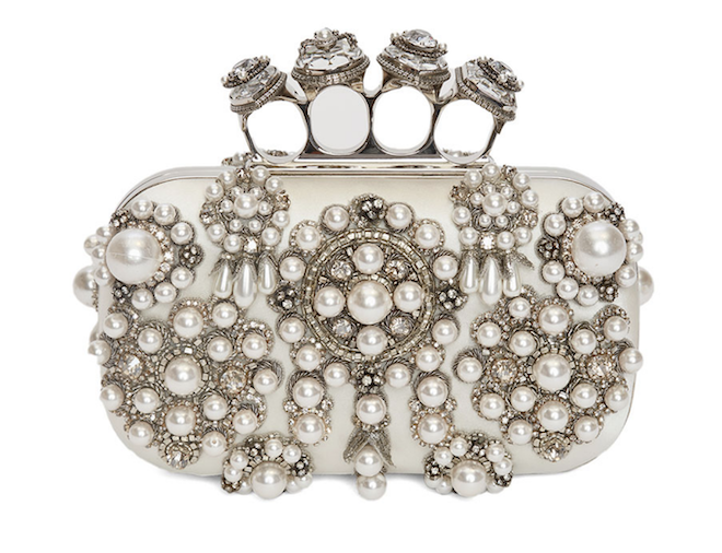 pearl bridal handbag, clutch, luxury, alexander mcqueen, unique, elegant, edgy, modern,
