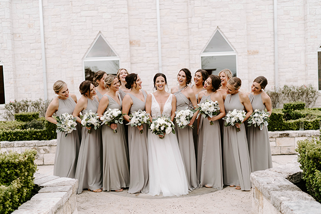 bridal party, bridesmaids, ivory, green, gray, bouquets, bride tribe,